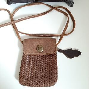 Roots Small Village Tribe Woven Leather Bag